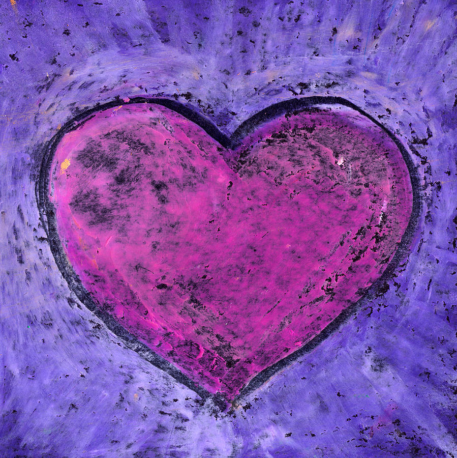 Grunge Drawing - Valentines day. Big pink heart on purple background. Oil pastel. by Elena Sysoeva