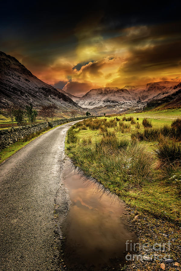 Sunset Photograph - Valley Sunset Snowdonia by Adrian Evans