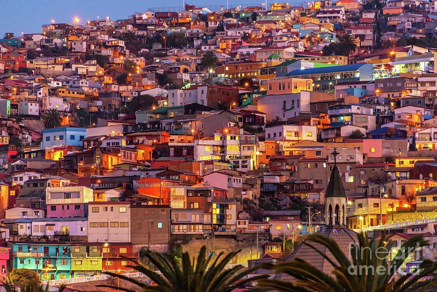 Valparaiso Photograph - Valparaiso At Night by Delphimages Photo Creations