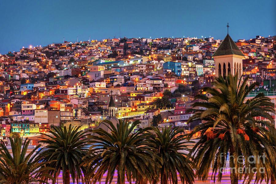 Valparaiso Photograph - Valparaiso Illuminated At Night by Delphimages Photo Creations