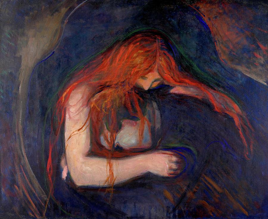 Edvard Munch Painting - Vampire, 1895 by Edvard Munch