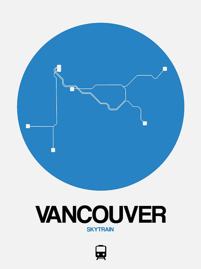 Vacation Digital Art - Vancouver Blue Subway Map by Naxart Studio
