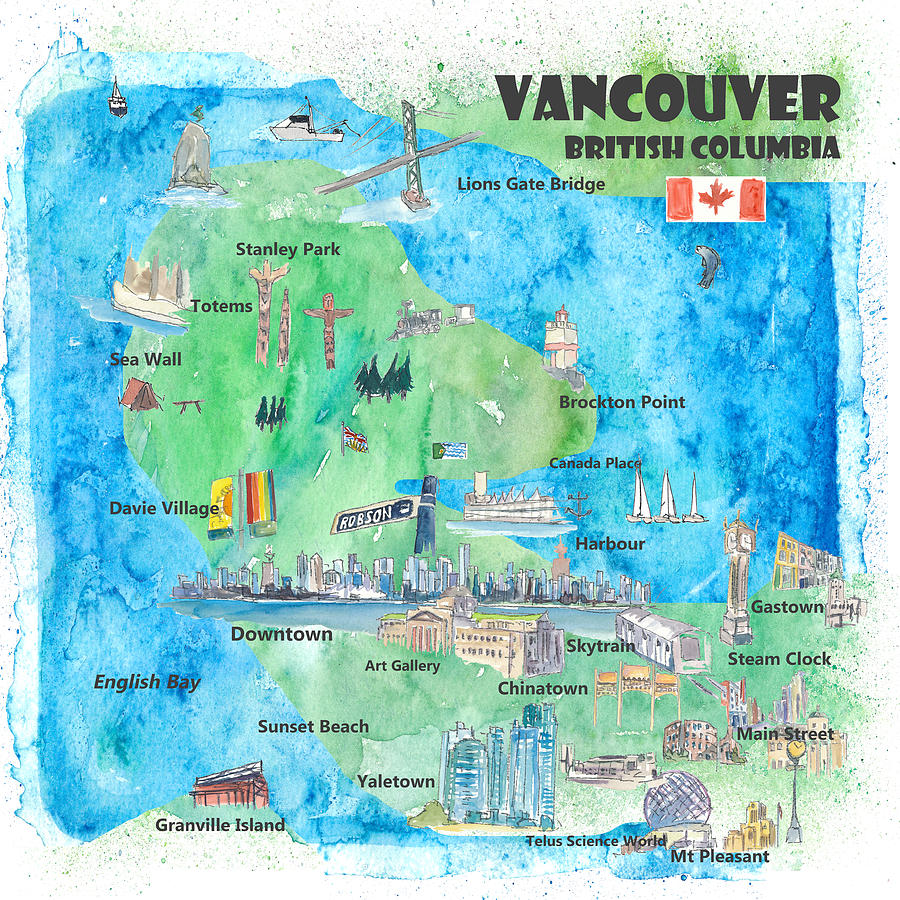 Vancouver British Columbia Canada Travel Poster Favorite Map