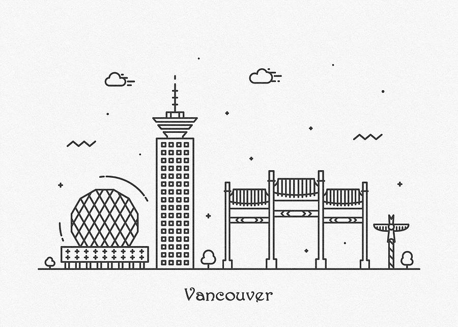 Vancouver Cityscape Travel Poster Drawing By Inspirowl Design