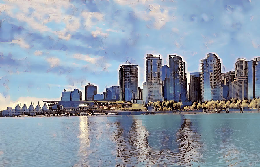 Vancouver From English Bay Digital Art by Keith Cassatt