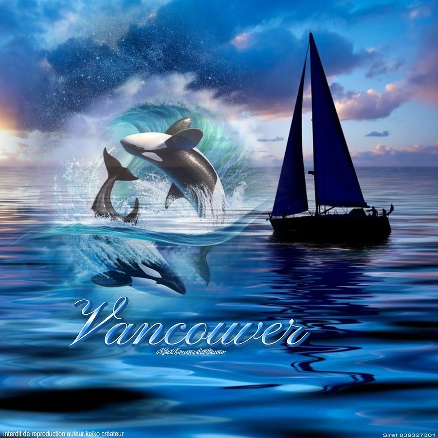 Baleine Digital Art - Vancouver by Keiko Createur