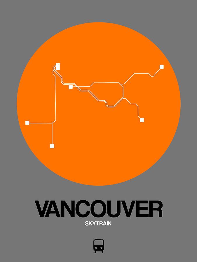 Vacation Digital Art - Vancouver Orange Subway Map by Naxart Studio