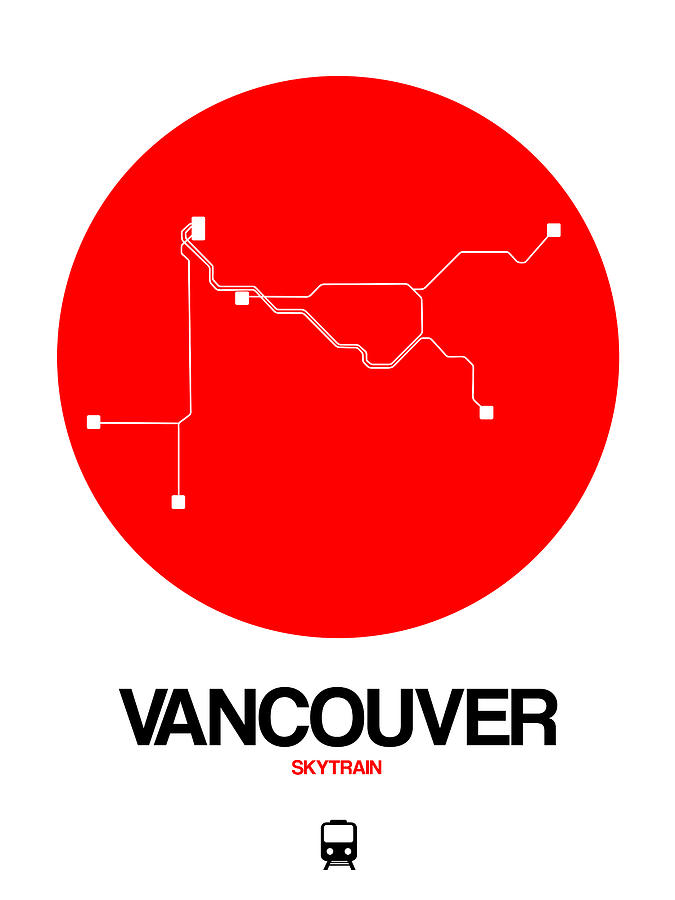 Vacation Digital Art - Vancouver Red Subway Map by Naxart Studio