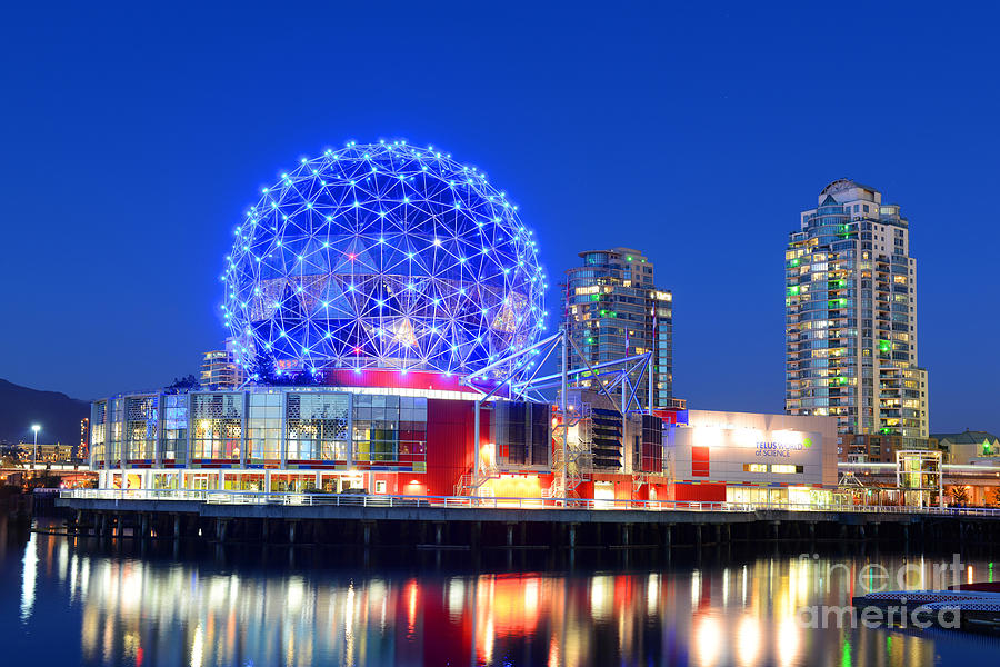 Canadian Photograph - Vancouver Science World At Night by Wangkun Jia