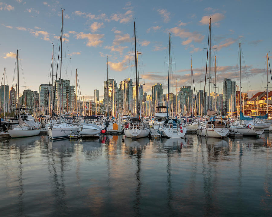 Vancouver Skyline and Sailboats at Dusk by Adam Romanowicz