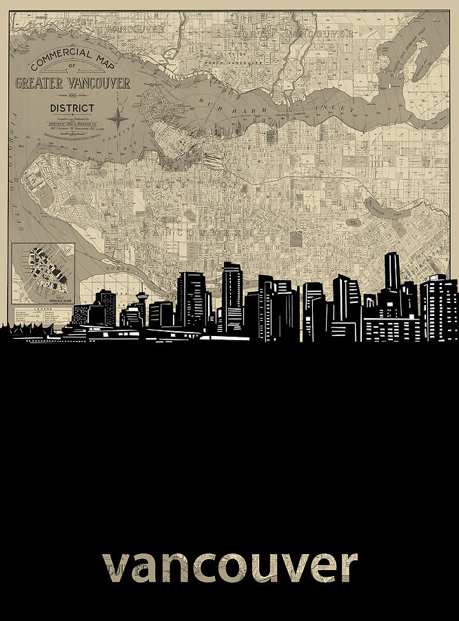 Vancouver Digital Art - Vancouver Skyline Map by Bekim M