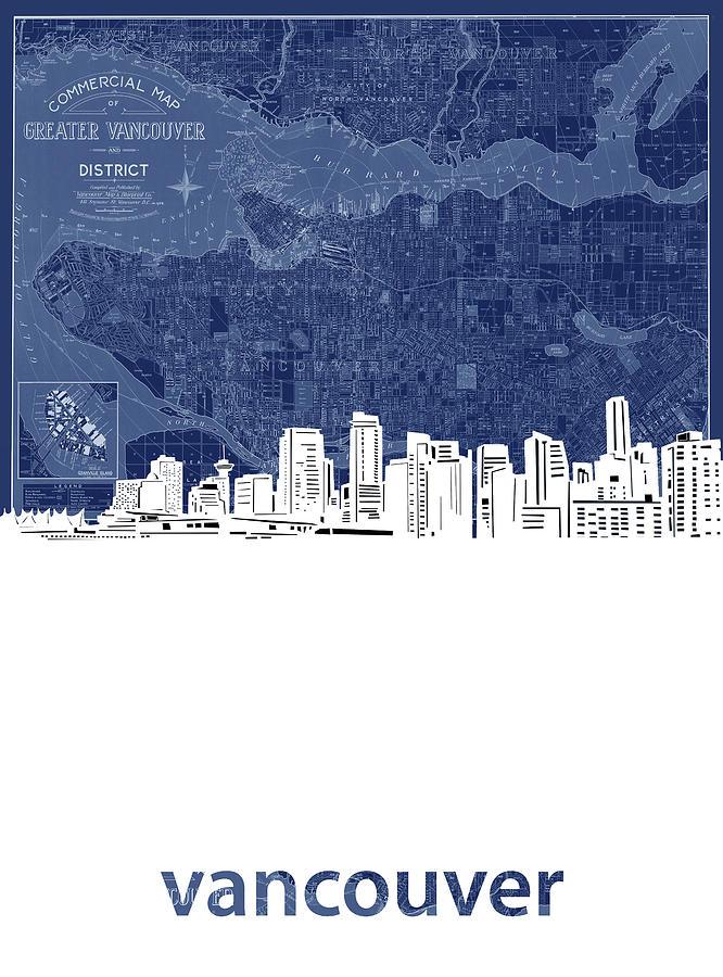 Vancouver Digital Art - Vancouver Skyline Map Blue by Bekim M