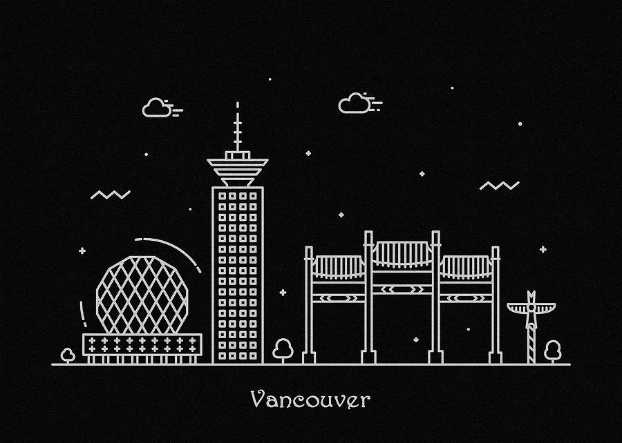 Vancouver Skyline Travel Poster Digital Art By Inspirowl Design