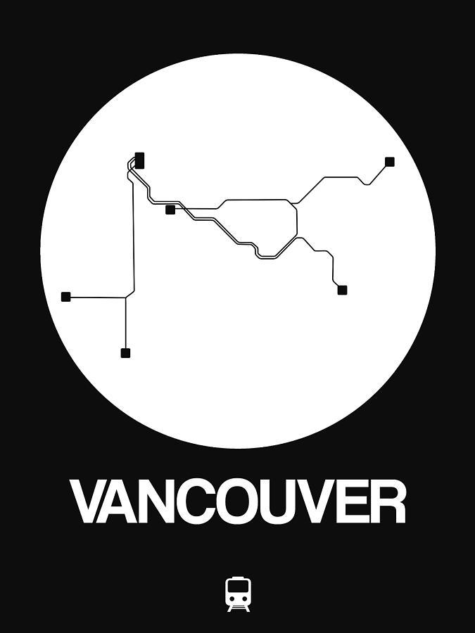 Vacation Digital Art - Vancouver White Subway Map by Naxart Studio