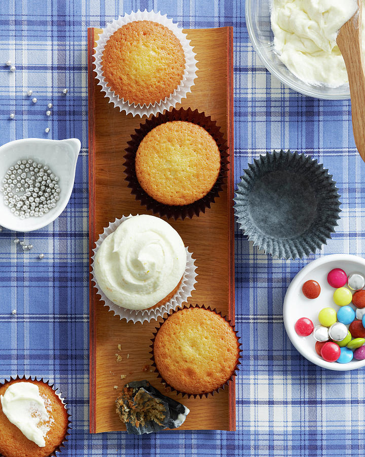 Vanilla Cupcakes With Selection Of Photograph by Brett Stevens