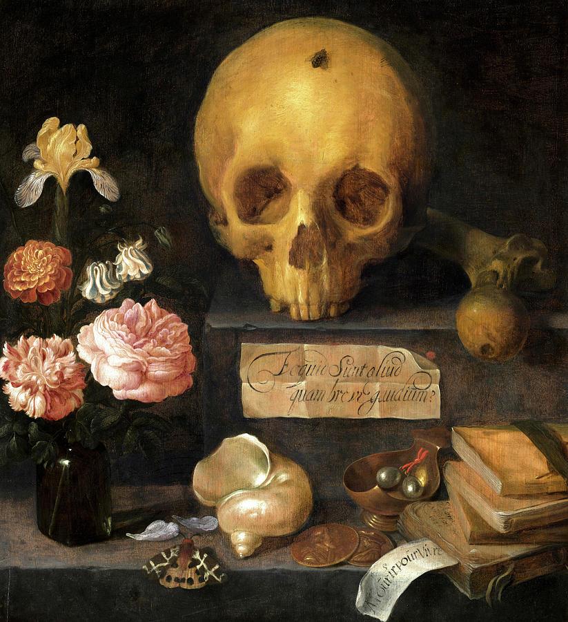 Vanitas Still Life Painting - Vanitas Still Life, 1636 by Adriaen van Nieulandt