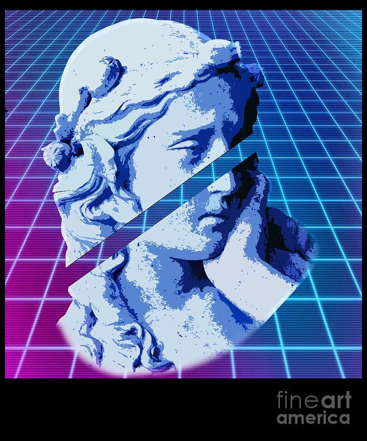 Vaporwave Sliced Greek Statue With Retro Futurism Background