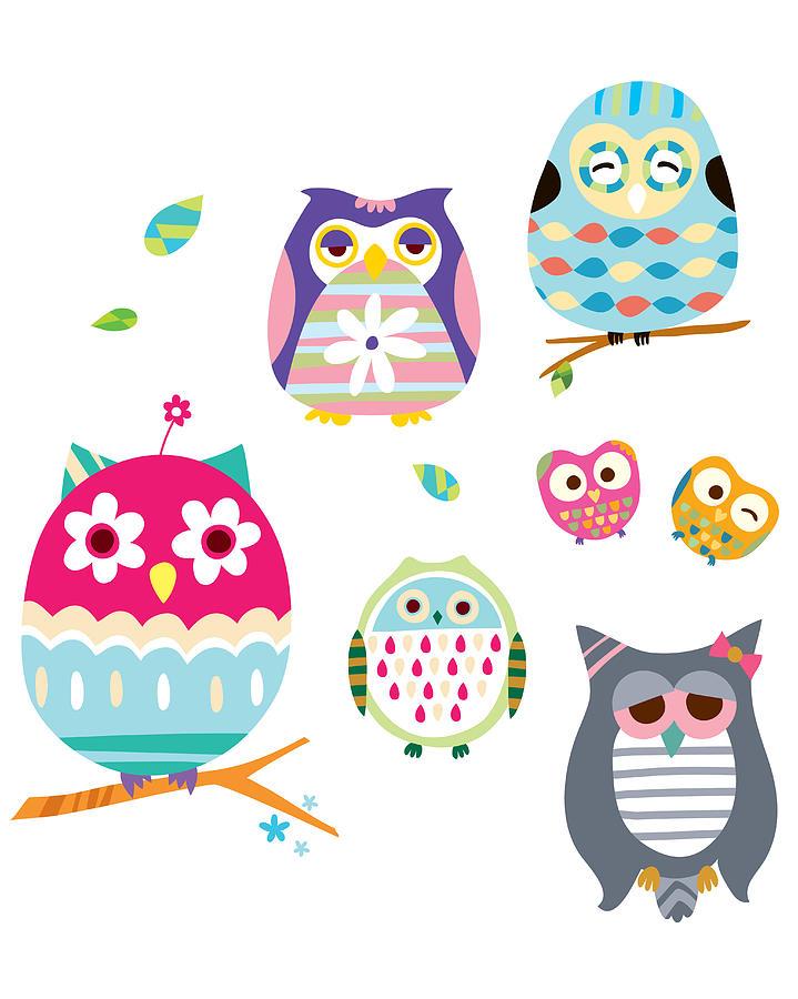Various Owls Digital Art by Eastnine Inc.