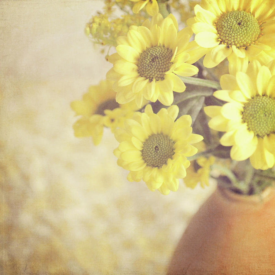 Vase Full Of Yellow Flowers Photograph by Photo - Lyn Randle
