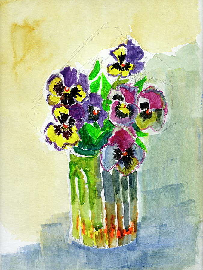 Still Life Painting - Vase Of Pansies by Diane McClary