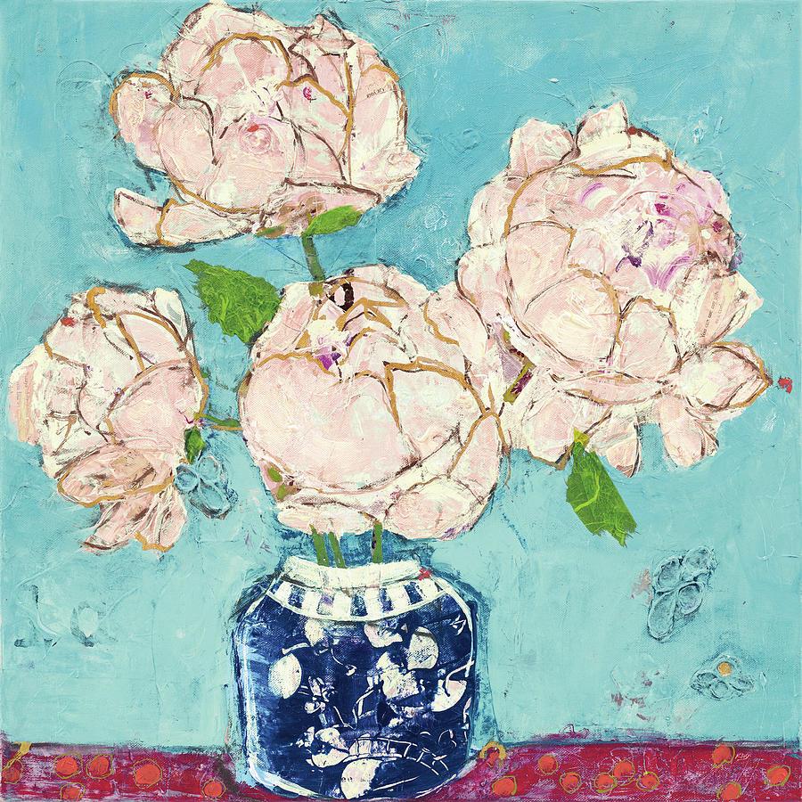 Blue Painting - Vase Of Peonies Aqua Coral by Kellie Day