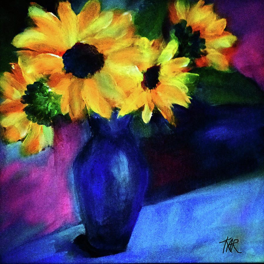 Flowers Painting - Vase Of Yellow Flowers by Art by Kar