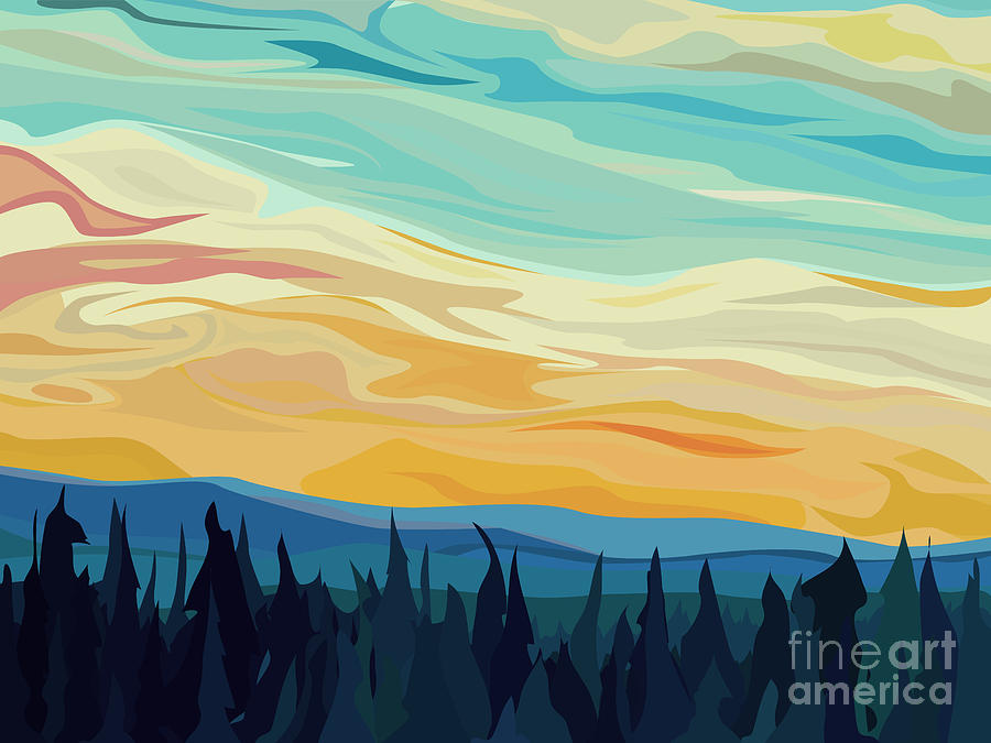 Forest Digital Art - Vector Abstract Illustration Background by Vertyr