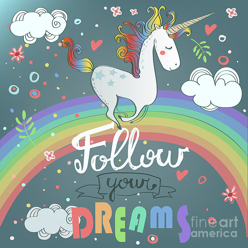Magic Digital Art - Vector Card With Cute Unicorn, Rainbow by Elena Barenbaum