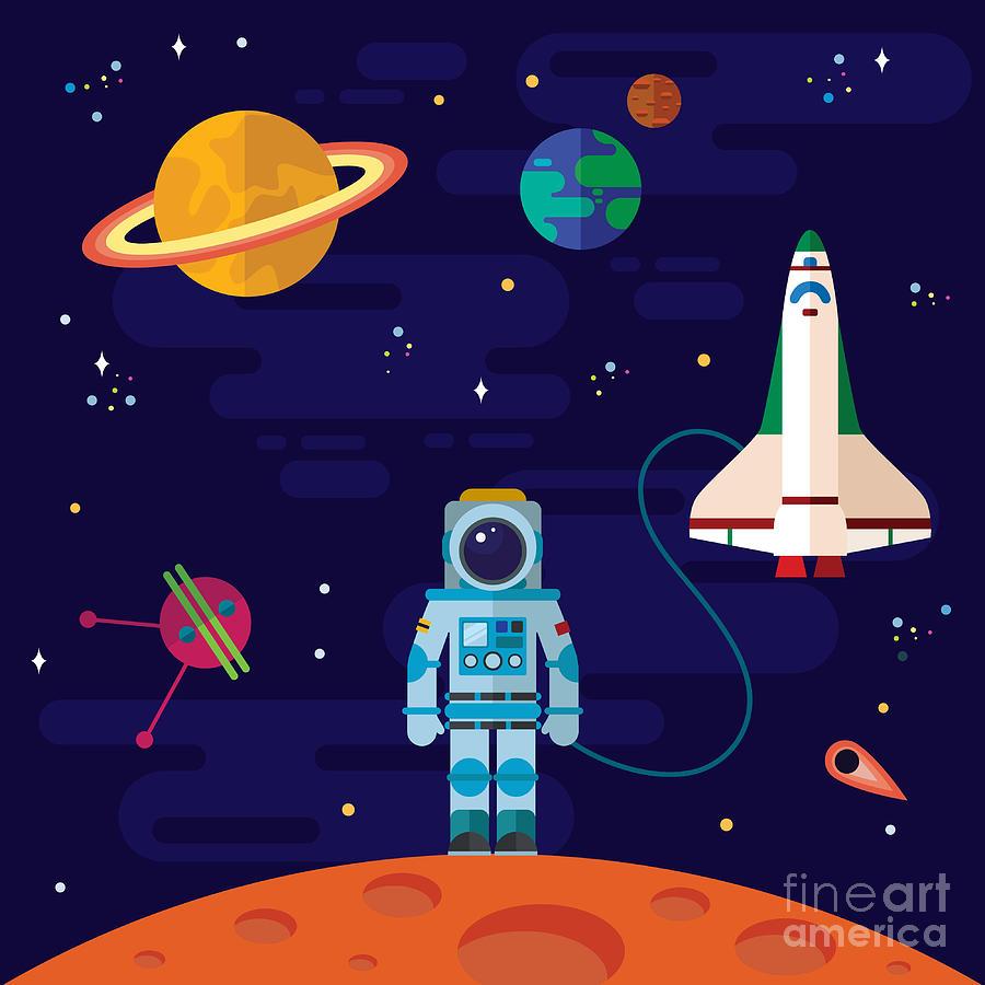 Flight Digital Art - Vector Flat Space Elements With by Inshpulya
