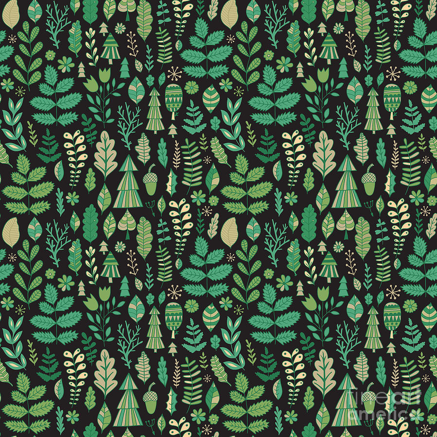 Country Digital Art - Vector Forest Design, Floral Seamless by Markovka