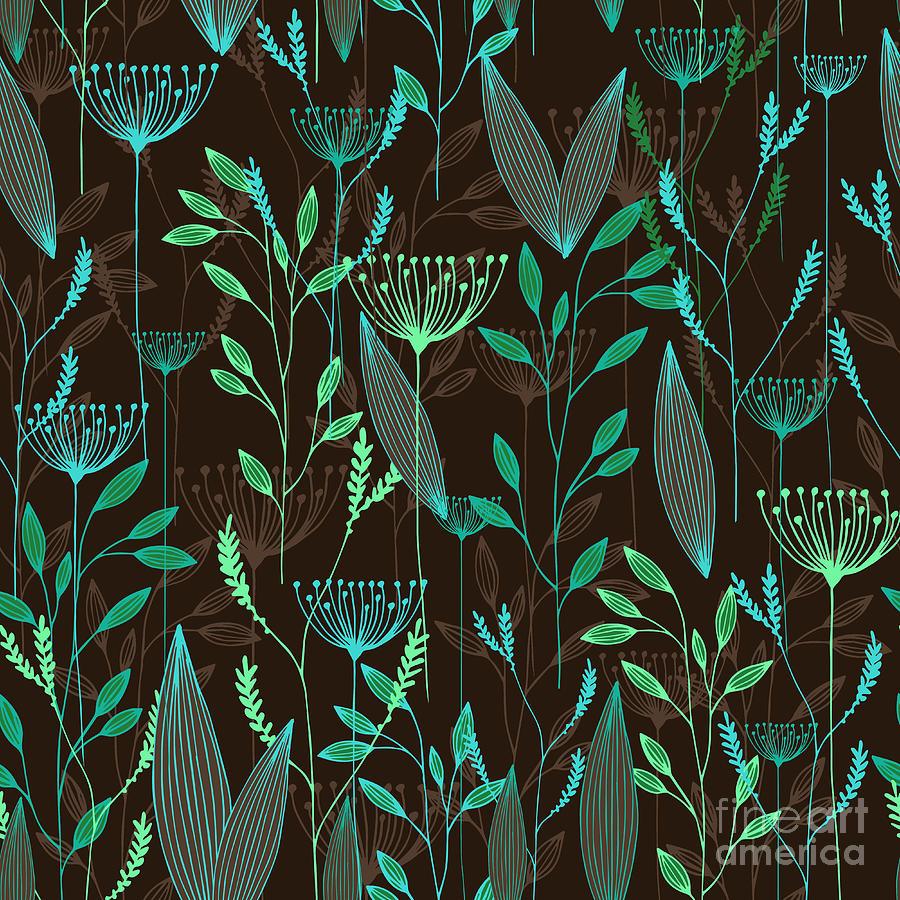 Branch Digital Art - Vector Grass Seamless Pattern by Oxanaart