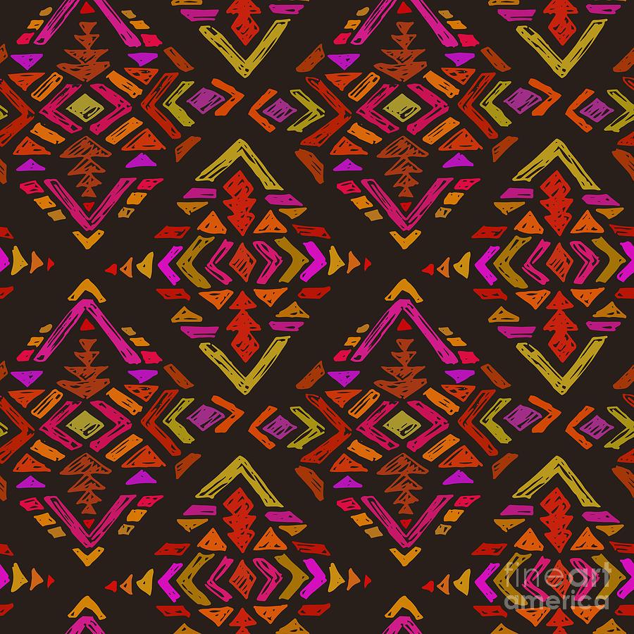 Blot Digital Art - Vector Hand Drawn Ethnic Seamless by Nadezhda Molkentin