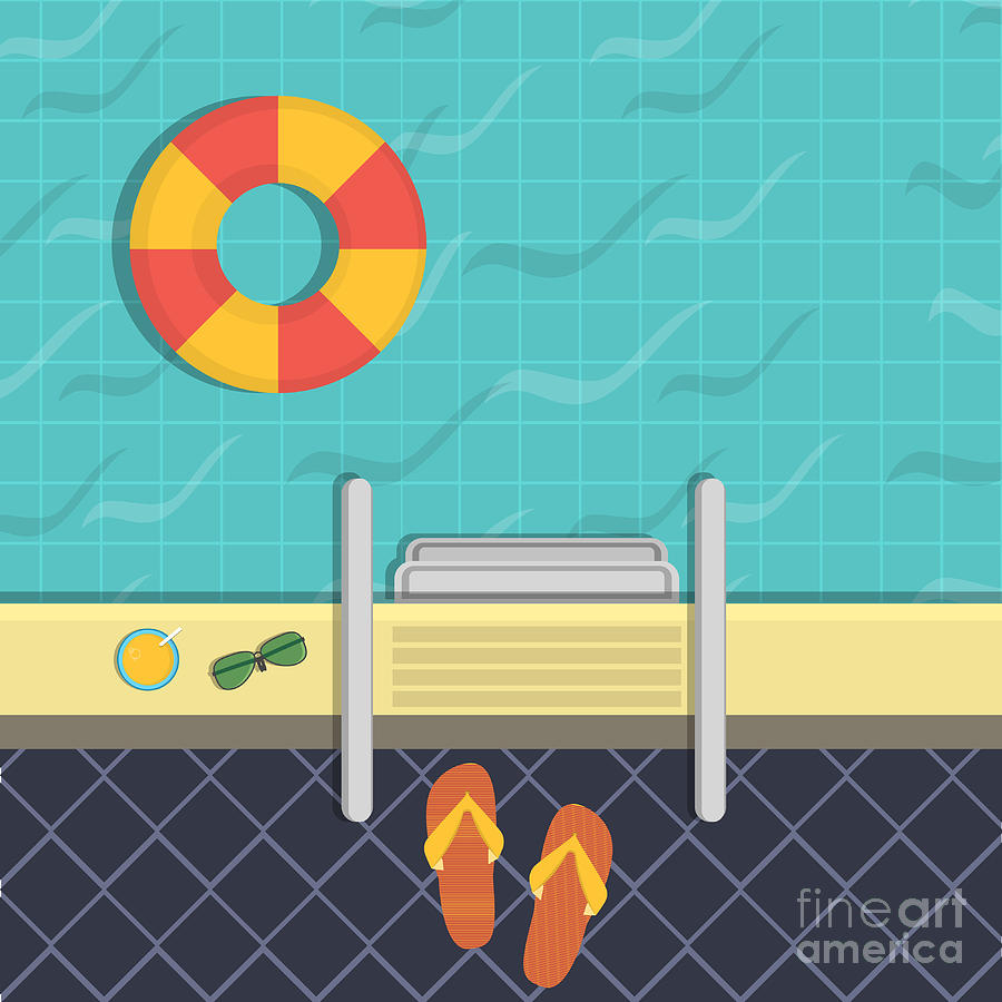 Aqua Digital Art - Vector Illustration - A Swimming Pool by Verkhozina Ekaterina