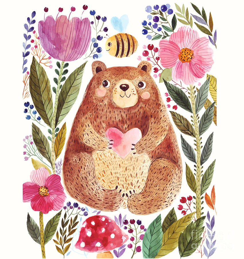 Love Digital Art - Vector Illustration Adorable Bear In by Molesko Studio