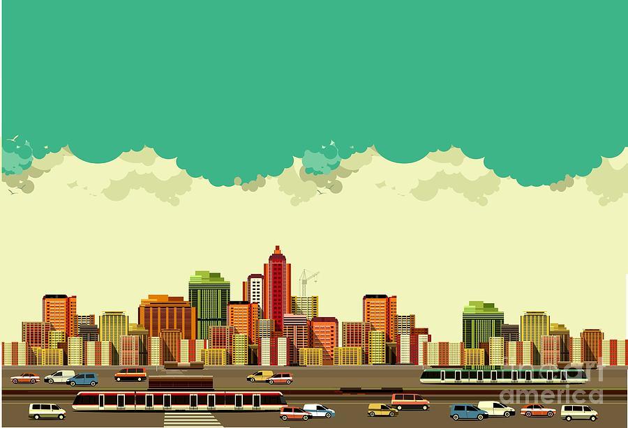 Bus Digital Art - Vector Illustration Big City Panoramic by Marrishuanna