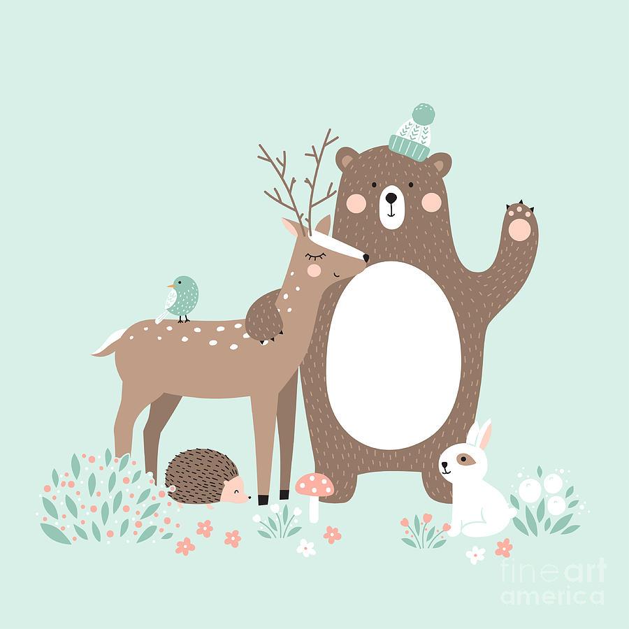 Deer Digital Art - Vector Illustration, Forest Animals by Inna Moreva