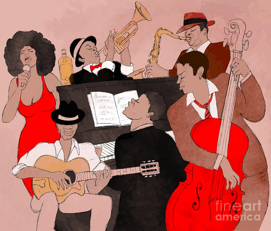 Singer Digital Art - Vector Illustration Of A Jazz Band by Isaxar