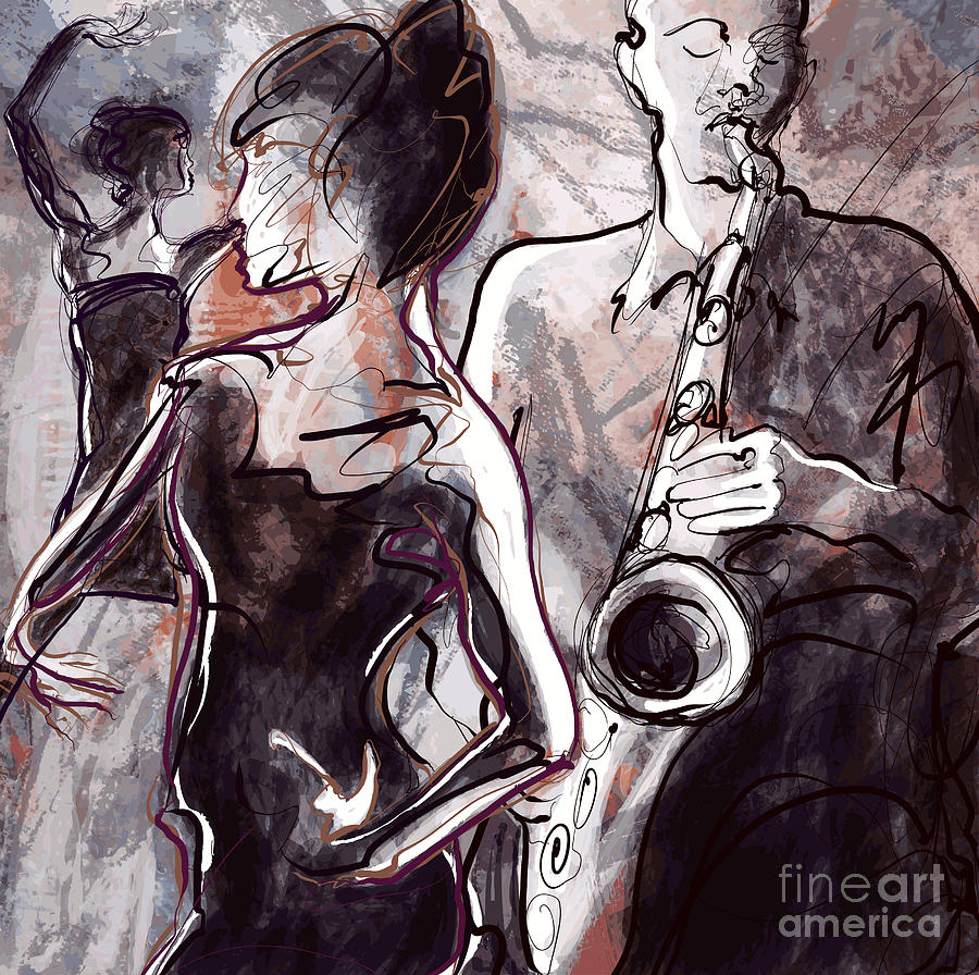Woman Digital Art - Vector Illustration Of A Jazz Band With by Isaxar