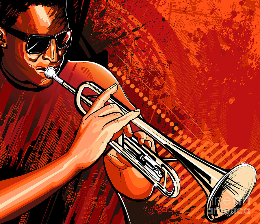 Grunge Digital Art - Vector Illustration Of A Trumpet Player by Isaxar
