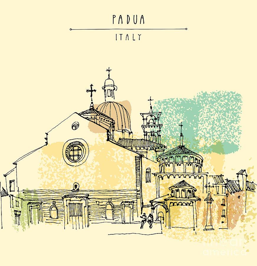 Door Digital Art - Vector Illustration Of Padua Cathedral by Babayuka