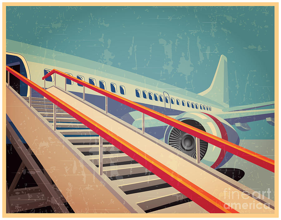 Plane Digital Art - Vector Illustration On The Theme Of by Andrii Stepaniuk