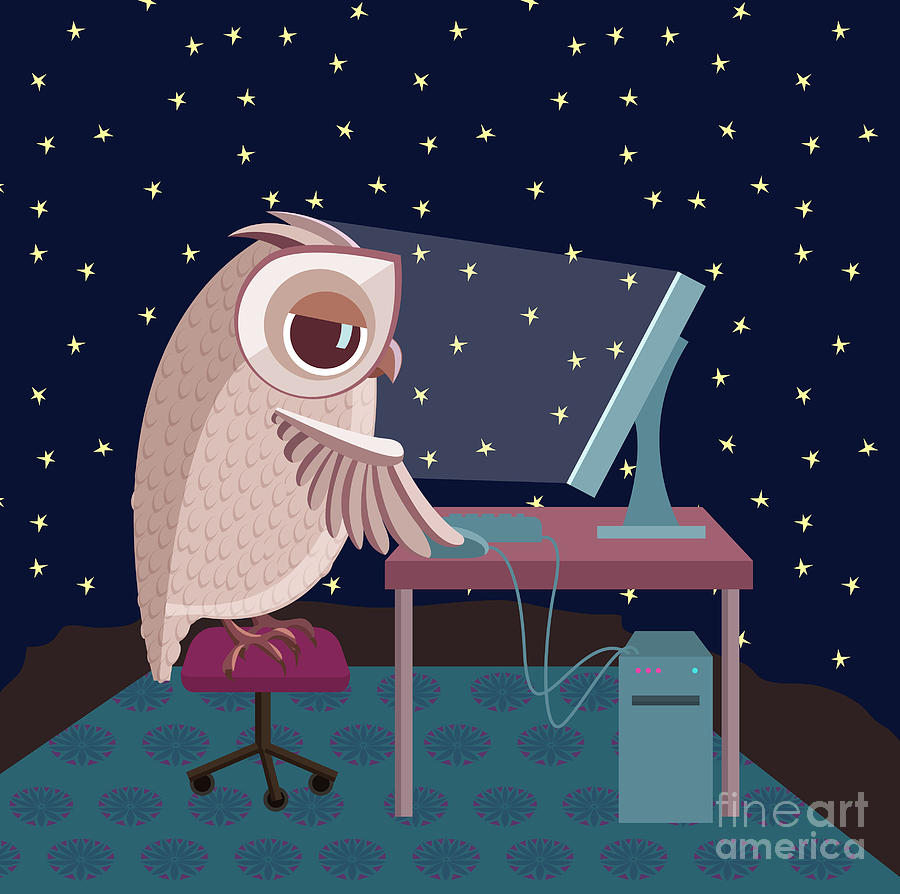 Education Digital Art - Vector Illustration. Owl Working On The by Satika