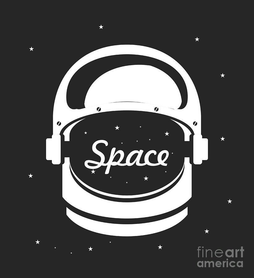 Mirror Digital Art - Vector Illustration Poster Space Helmet by Marrishuanna
