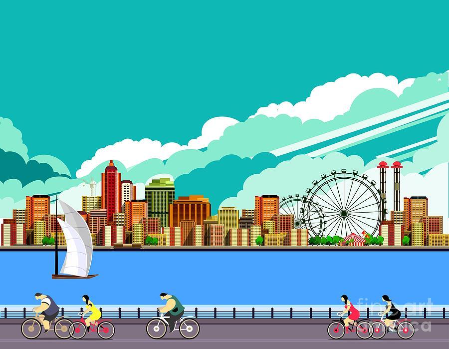 Commercial Digital Art - Vector Illustration Promenade Ride by Marrishuanna