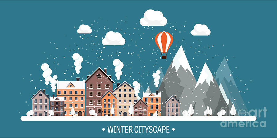 Plane Digital Art - Vector Illustration. Winter Urban by 32 Pixels