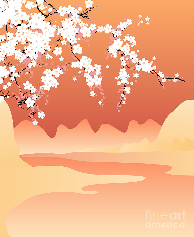 Love Digital Art - Vector Japan Background by Buketgvozdey