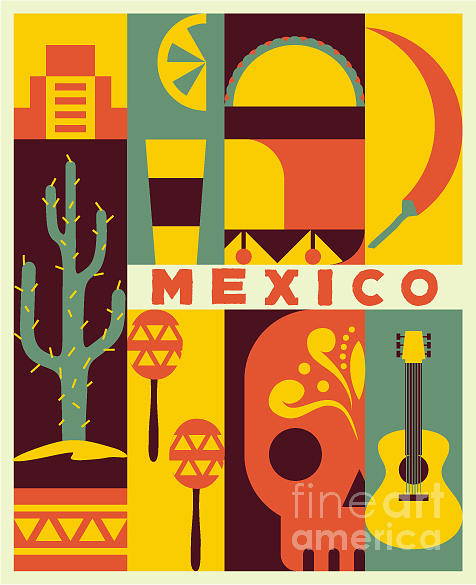 Country Digital Art - Vector Mexico Background by Flatcat