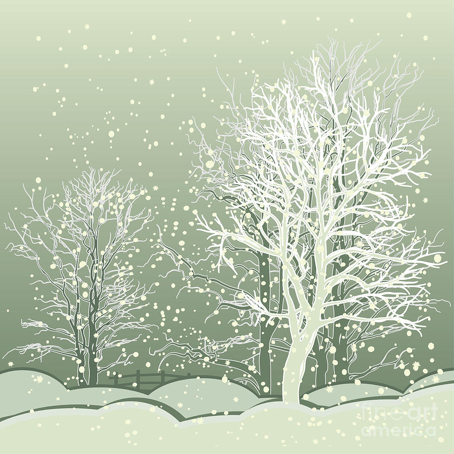 Beauty Digital Art - Vector Of Winter Scene With Forest by Bstr-1