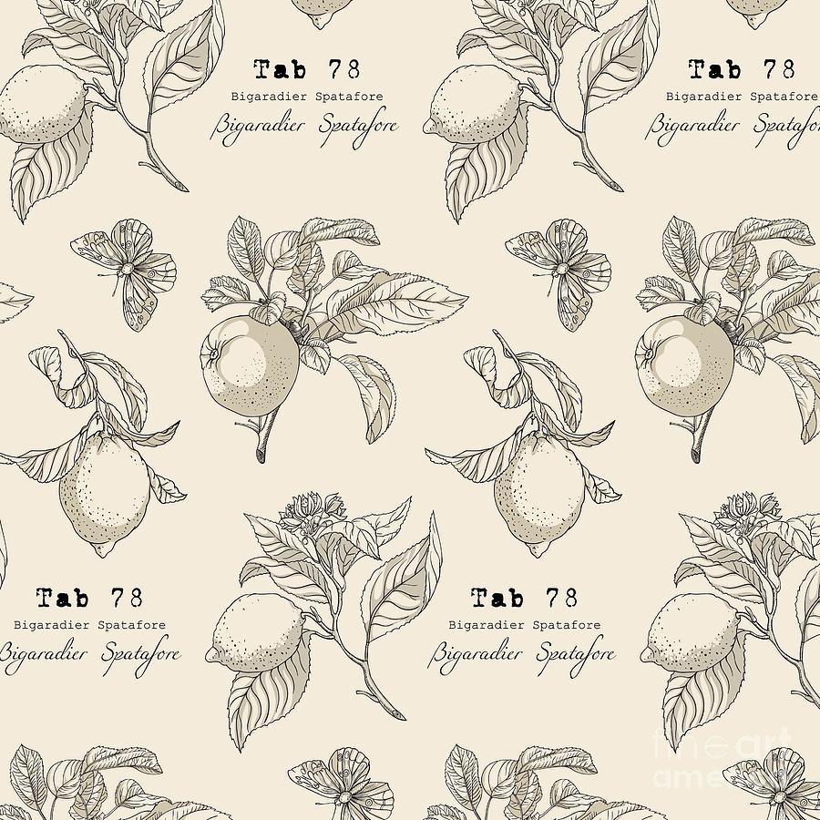 Fruit Digital Art - Vector Pattern In Vintage Style by Yana Fefelova