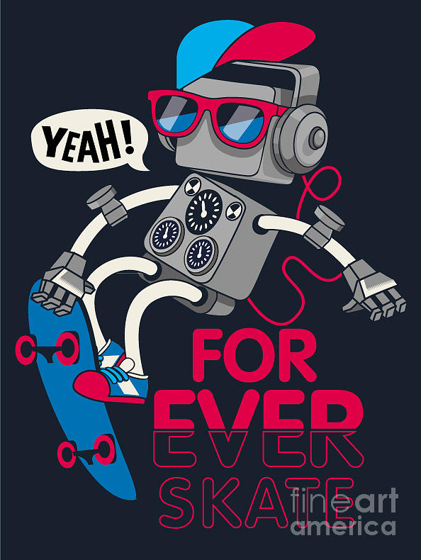 Freestyle Digital Art - Vector Retro Robot On Skateboard, Skater by Braingraph